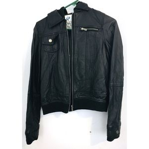 FULL TILT Faux Leather Hooded Motorcycle Jacket
